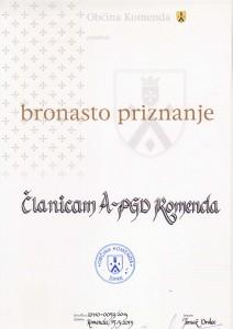 ČLANICE A PGD KOMENDA - BRONASTO PRIZNANJE